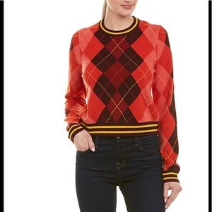RAG & BONE Cropped Dex Argyle Wool Sweater RED L